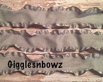 1.5 inch DOUBLE RUFFLE Satin Ribbon- SiLVER/GRAY 5 YaRDS Great for Hair bows Scrapbooking Crafts