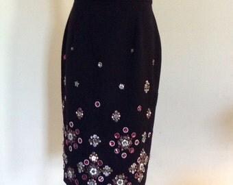 Vintage NWT Rhinestone Black Skirt