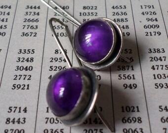 Sterling Silver Earrings, Amethyst Earrings, Deep Purple Round Stone Candy Earrings, Modern Urban Charcoal Handwrought Metalsmith Earrings