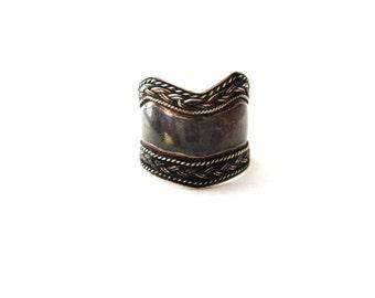 Wide Ethnic Tribal Handmade Vintage Sterling Silver Basketweave Boarder Cigar Band Zig Zag Ring--Size 7