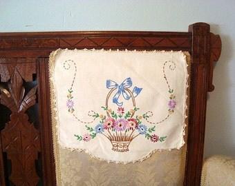 Vintage Antimacassar Art Deco Embroidered Flower Basket