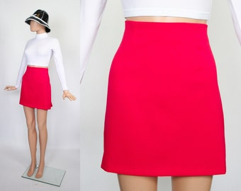 Vintage Mod Mini Skirt / 90s does 60s Skirt /  1990s Revival / 1960s Twiggy / Bright Coral / Color Block / Medium