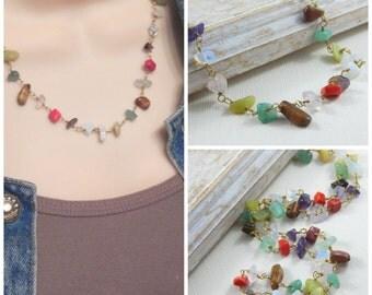 gemstone necklace, multi gemstone chip necklace, wire wrapped necklace, birthstone necklace, gemstone jewelry, gold necklace