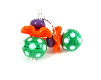 Green Orange Purple Dangle Earrings, Ruffle Earrings, Polka Dot Drop Earrings, Fun Earrings, Lampwork Earrings, Funky Jewelry Colorful Glass