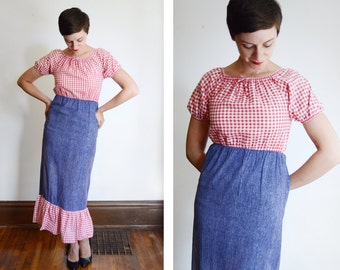 1960s/1970s Gingham Picnic Maxi Dress - XS/S