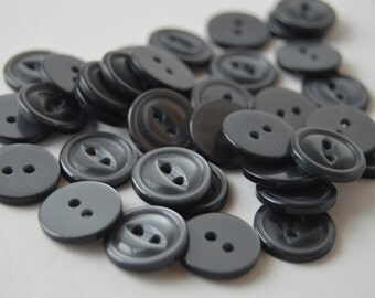 Gray 2 hole Pearlized Buttons - 9/16 inch x 35