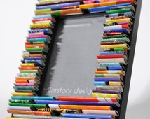 MINI colorful picture frame - made from recycled magazines, blue, green, red, purple, pink, yellow, orange