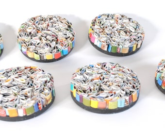 SALE multi-colored round wall art- set of 6- made from recycled magazines, colorful, unique