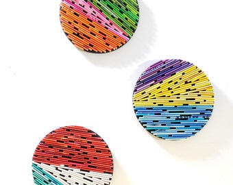 color blocking- set of 3- made from recycled magazines, colorful, unique 6 inch circle, bright colors, color blocking