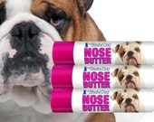 Bulldog ORIGINAL NOSE BUTTER® All Natural Balm for Rough, Dry Dog Noses Three (3) of the .15 oz Tubes with English Bulldog Label in Gift Bag
