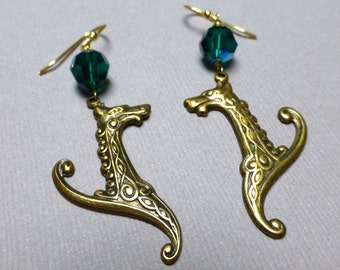 Emerald Green Celtic Dragon Earrings. Long Drop Earrings. Dangle Earrings. Fairy. Mythical. Celtic. Fantasy.  Irish. Handmade Jewelry.