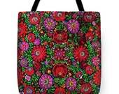 Tote Bag Hungarian Magyar Folk Embroidery Matyo Print Handbag in 3 sizes HOT Fashion Accessory