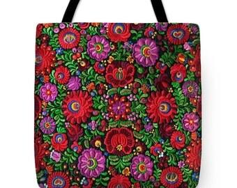 Tote Bag Hungarian Magyar Folk Embroidery Matyo Photo Print Handbag in 3 sizes HOT Fashion Accessory