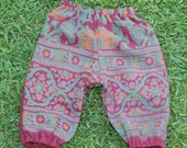 Hippie Kids Harem pants -size 1- Maroon Green -Boys or Girls-read measurements