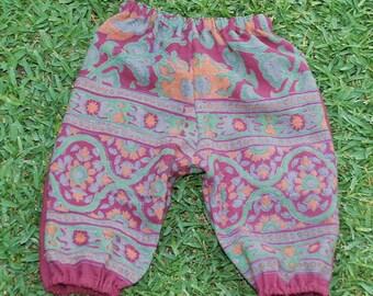 Hippie Kids Harem pants - Maroon Green  - size 1 -Boys or Girls-read measurements