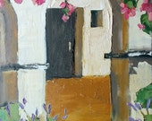 Impressionist California MISSION ROSES Garden Plein Air Landscape Painting Original Art Lynne French 12x16
