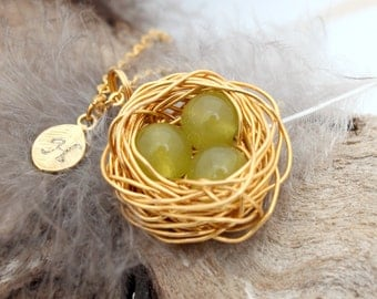 Personalized bird nest necklace with 3 peridot eggs and initial charm- gold plated woven wire with chain- August birthstone- crystal healing