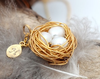 Personalized bird nest necklace with three genuine pearl eggs and initial charm- gold plated woven wire with chain- June birthstone