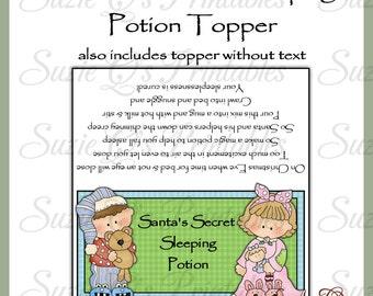 Santa's Secret Sleeping Potion Topper - US and International Sizes - Digital Printable - Immediate Download
