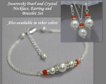 CUSTOM COLOR Bridesmaid Gift, Swarovski White Pearl and Orange Crystal Bridesmaid Necklace, Earring and Bracelet Set, Bridesmaid Gift