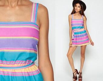 Rainbow Stripe Dress 70s Mini Sun Dress Boho Hippie Striped Pink Purple 1970s Sundress Bohemian High Waist Summer Tank Small Medium