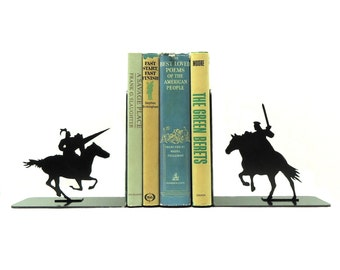 Jousting Knights Metal Art Bookends - Free USA Shipping