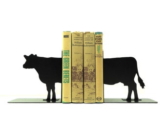 Cow Metal Art Bookends - Free USA Shipping