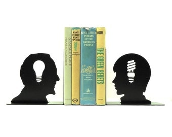 Old and New Ideas Metal Art Bookends - Free USA Shipping