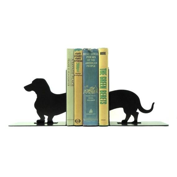 Dachshund Wiener Dog Metal Art Bookends - FREE USA Shipping