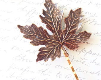 Ox Brass Maple Leaf Hair Pin - Maple Leaf - Bobby Pin - Woodland Collection - Nature - Bridal - Woodland Hair