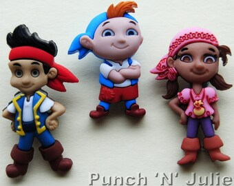 JAKE and the NEVERLAND PIRATES Disney Cubby Izzy Dress It Up Novelty Craft Buttons