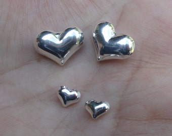 Large or Small Puffy Heart Beads