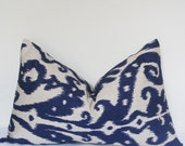 Pillow Cover, Decorative Pillow, Throw Pillow, Toss Pillow, Sofa Pillow, Ikat Pillow, Blue Ikat, Home Furnishing, Home Decor, Made in USA