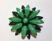Large vintage 1960s green metal flower brooch pin