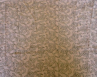 1920s B Altman Tan Silk Faille Gold Metallic Thread Embroidered Cloth Fabric 52 x 36