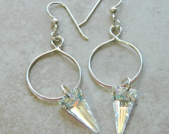 Sterling silver ellipse with crystal spike
