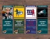 Football Ticket Style Birthday invitation, Pick ANY Team, NFL, AFL, Photo Printable Birthday Invitation- Print Your Own