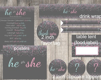 Instant Download Gender Reveal Party Pack, New Baby, He or She, Boy or Girl - Print Your Own