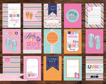 Summer Days, Summer Fun, Journal cards. Perfect for Project Life. Instant Download