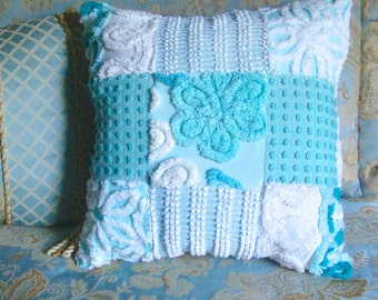 Sample Listing for Custom Ordering - Aqua and Teal Handmade Patchwork Vintage Chenille Bedspread Fabric Pillow 12- Inch