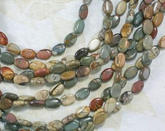 17 Jasper Beads Oval Earth tones Lentil Green Rust Sand Brown (5421)