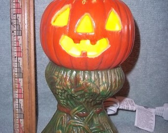 Light Up Pumpkin on Corn Stalks Made of Ceramic Halloween Jack O Lantern