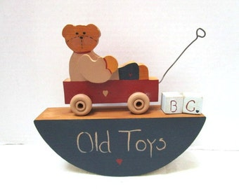 Vintage Handmade Old Toy Bear in Wagon Wall Nursery Decor, Precious, 1980's, Wooden, Alphabet Blocks, Country Blue, Brick Red, Heart