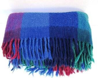 Vintage Stadium Blanket, Navy Burgundy Green Plaid, Wool Blend, Football Game Picnic, Lap Robe, Classic Warmth, Car Blanket Tailgate, Lodge