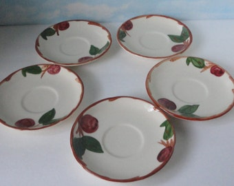 Vintage Franciscan Apple  Saucer set of 5 saucers. ca 1971-1978
