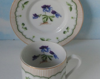 Vintage George Briard Bird's-Foot Violet Cup and Saucer