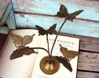 Vintage Brass Butterfly Display Stand Antique Patina Butterflies Wings in Flight Unusual Modernism
