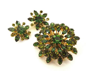 Vintage Brooch Earring Jewelry Set Green Rhinestones Retro 1950 Costume Jewelry Accessories