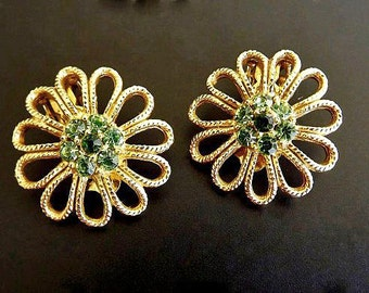 Vintage Earrings with Peridot Green Rhinestones, Clip On Earrings, Dressy Jewelry, Green Earrings, Casual Costume Jewelry Accessories