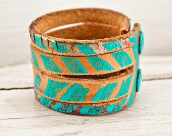 Edgy Bracelets Wrist Cuff Primitive Jewelry Rustic  Handpainted Wristbands
